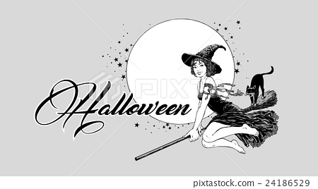 Young halloween witch flying on broom vector 24186529