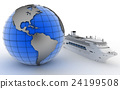 Luxury cruise ship on globe background 24199508