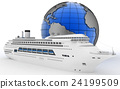 Luxury cruise ship on globe background 24199509