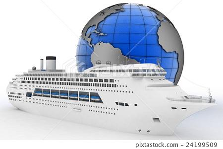Luxury cruise ship on globe background 24199509