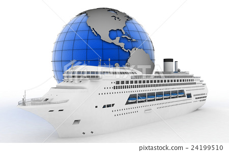 Luxury cruise ship on globe background 24199510