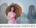 Portrait of Vietnamese girl traditional dress 24201452