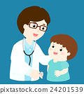 Cute boy cartoon see doctor vector 24201539