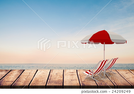 Composite image of image of sun lounger and sunshade 24209249