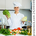 female cook vegetarian meal 24209399