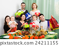 Big family at festive table 24211155