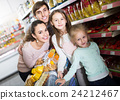 parents with two kids and purchases in shopping cart 24212467