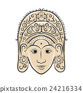 Wooden mask of indonesian dancer woman 24216334