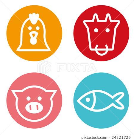 四種肉和魚圖標 24221729