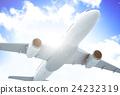 Airplane Transportation Flight Flying Vehicle Blue Sky Concept 24232319