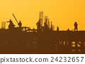 Industrial Sunset Construction Workers Concept 24232657