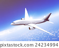 Airplane Transportation Flight Flying Vehicle Blue Sky Concept 24234994