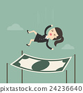 Businesswoman falling into a financial safety net. 24236640