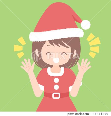 즐거운 듯이 말하는 산타 차림의 여성 상반신 크리스마스 일러스트 벡터 자료 24241859
