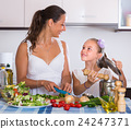 Woman teaching girl to cook 24247371