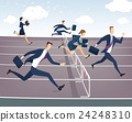 Businessman and businesswoman jumping over hurdles 24248310