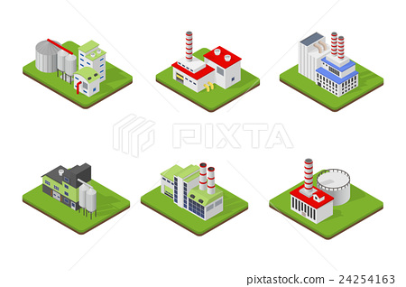 Isometric industrial factory buildings 24254163