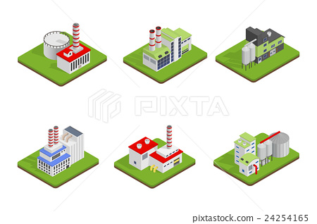 Isometric industrial factory buildings 24254165