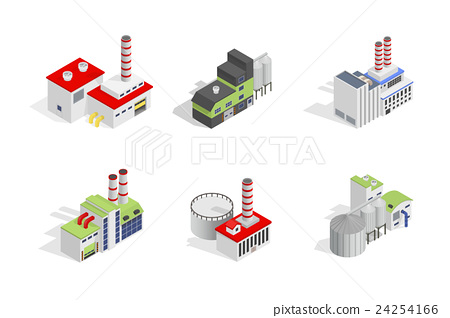 Isometric industrial factory buildings 24254166