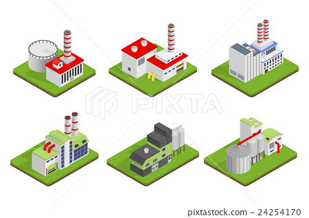 Isometric industrial factory buildings 24254170