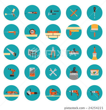 Construction tools icons set 24254221