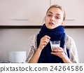 Girl with quinsy taking medicine 24264586