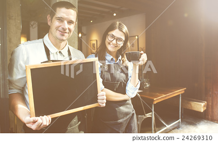 Barista Staff Working Coffee Shop Cafe Cheerful Concept 24269310