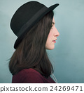 Profile Portrait Lady Wearing Hat Concept 24269471