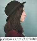 Profile Portrait Lady Wearing Hat Concept 24269480