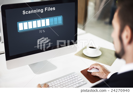 Scanning Files Searching Processing Antivirus Concept 24270940
