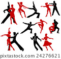 Silhouettes of the pairs dancing ballroom dances.  24276621
