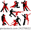 Silhouettes of the pairs dancing ballroom dances.  24276622