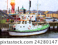 Moored berth tug. Marine tractor parked 24280147