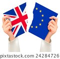 Two torn flags - EU and UK in hands. Brexit concep 24284726