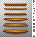 Set of wooden shelves on a transparent background 24284779