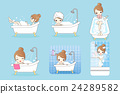 cartoon woman is taking  bath 24289582