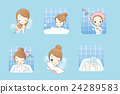 cartoon woman is taking  bath 24289583