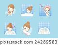 cartoon woman is taking  bath 24289583