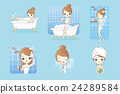 cartoon woman is taking  bath 24289584