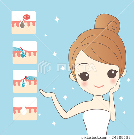 cartoon woman skin care 24289585