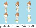 woman take waist ruler amount 24289593
