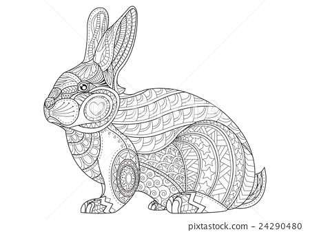Coloring Page rabbit. Hand Drawn vintage bunny - Stock ...