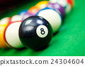 billiard balls on a green pool table, closeup 24304604