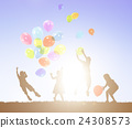 Balloon Activity Casual Cheerful Children Youth Concept 24308573