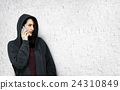 Behind Criminal Female Spying Undercover Staring Concept 24310849