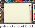 Set of watercolor paints,  brushes for painting 24310993