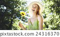 Woman Beautiful Nature Outdoors Fun Relaxation Concept 24316370