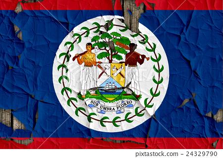 裂開牆上的貝里斯國旗特寫紋理背景(高分辨率 3D CG 渲染∕著色插圖) 24329790