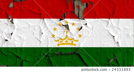 裂開牆上的塔吉克國旗特寫紋理背景(高分辨率 3D CG 渲染∕著色插圖) 24331893