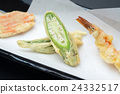 tempura, japanese food, deep fried fish and vegetables in a light batter 24332517